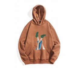 Men Figure Print Hooded Sweatshirt