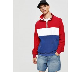 Men Cut And Sew Zip Half Placket Sweatshirt