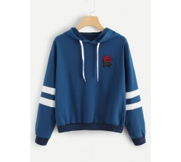 Rose Patched Stripe Sleeve Drawstring Hoodie Sweatshirt