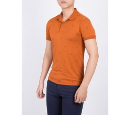 Printed Polo T-shirt Flat Knitted Collar and Cuff