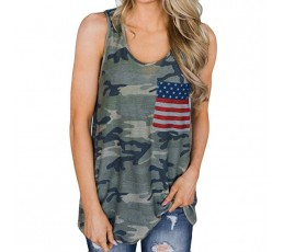 Womens Print T-Shirt American Flag Tops Sexy Short Sleeve