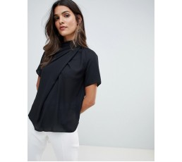 High Neck Tee With Drape Details