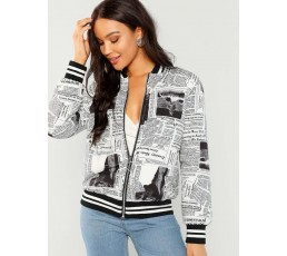 Zip Up Newspaper Print Bomber Coat